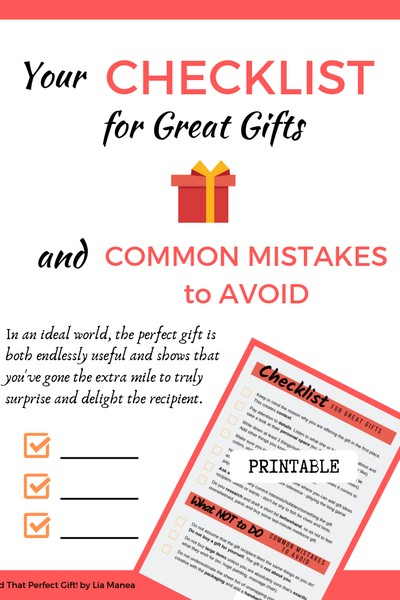 Your Checklist for Great Gifts